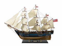 Wooden HMS Bounty Tall Model Ship 34 inch