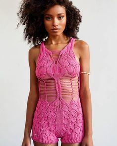 Tulip Playsuit by Helen Rödel Crochet Pants, Crochet Clothes, Hand Crochet, Knit Pants, Knitwear Fashion, Knit Fashion, Crochet Bikini Top, Knit Crochet, Summer Knitting