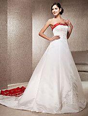 A-linje Prinsesse Stroppeløs Kapellslep Sateng Bryllupskjole med Appliqué Broderi av LAN TING BRIDE® – NOK kr. 51.144