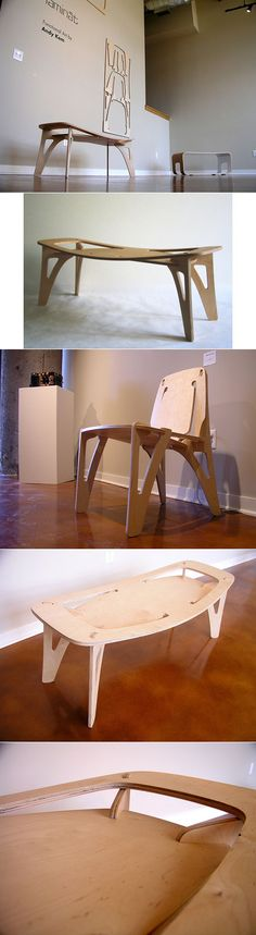 Interesting connection method on this cnc plywood furniture. Andy Kem figured out that he could use the resistance of the plywood to flex to keep all the pieces together without fasteners. Concuerdo, juntas interesantes, el diseño no es tan limpio. Plywood Furniture, Furniture Plans, Furniture Making, Modern Furniture, Furniture Design, Luxury Furniture, Plywood Design, Cnc Wood, 3d Laser