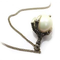 $3.76 Vintage Faux Pearl Claw Pendant Sweater Chain Necklace For Women