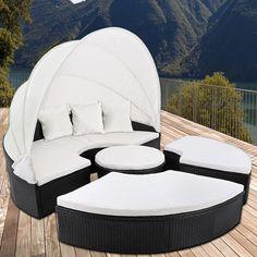 Garden Furniture Set Rattan Day Sun Bed Lounger White Sofa Outdoor Seats Patio