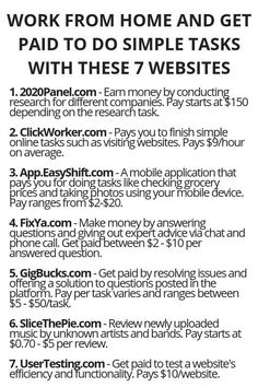 Work From Home And Get Paid To Do Simple Tasks With These 7 Websites - earn money from home - Ways To Earn Money, Earn Money From Home, Earn Money Online, Online Jobs, Way To Make Money, Quick Money, Money Tips, Legit Work From Home, Work From Home Jobs