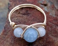 14K Gold Filled Aquamarine Ring  Mother by MiscAndMiscellany, $16.99
