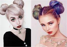 Liebliche zwei Haarknoten Frisuren zur Halloween und Weihnachts-Party