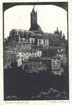 Original wood engraving by Eileen Balfour Browne title Sienna Cathedral