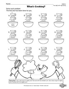 Math Worksheet: two-digit addition with regrouping