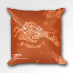 Map Throw Pillow of Venice Italy - Subtle Burnt - Venice Map Art