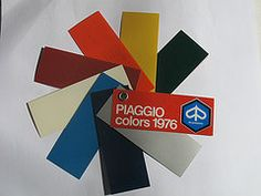 Piaggio Vespa Colours 1976 (vegansydney) Tags: color colour swatch paint vespa sprint ppg piaggio lecher codes rally200 et3 lacker