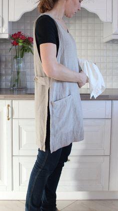Original Linen Pinafore Apron Pinafore Washed linen apron Work Apron Dress L Linen Apron, Linen Tunic, Sewing Aprons, Sewing Clothes, Dress Sewing, Dress Patterns, Sewing Patterns, Apron Patterns, Japanese Apron