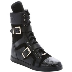 Jimmy Choo Black leather and suede mixed media 'Brixen' mid-calf... ($760) ❤ liked on Polyvore featuring shoes, sneakers, black, lacing sneakers, black shoes, lace up shoes, lace up sneakers and black snakeskin sneakers