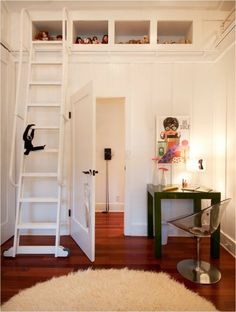 Mini Parsons Desk from west elm in a home by Philpotts Interiors. above the closet idea! Hidden Spaces, Desks For Small Spaces, Kid Spaces, Library Ladder, Modern Shelving, Board And Batten, Kids Room Design, Design Firms, Storage Spaces