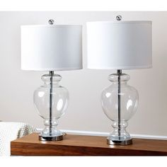ABBYSON LIVING Burnham Clear Glass Table Lamp (Set of 2) - Overstock™ Shopping - Big Discounts on Abbyson Living Lamp Sets