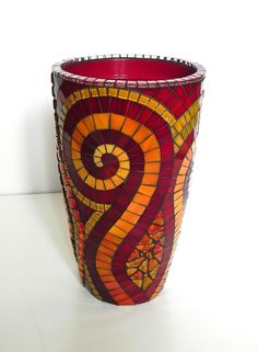 Mosaic Art - Large Stained Glass Mosaic Vase on Ceramic in Red and Yellow