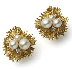 Grima - Pearl earclips - Yellow gold textured wire set with white pearls and diamonds.