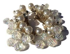 White Dangle Clip On Earrings with Faux Pearls & by RibbonsEdge
