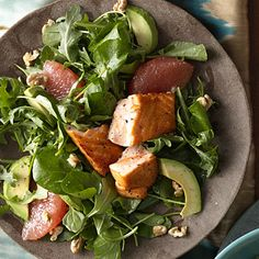 This heart-healthy dish is bright and flavorful. Grapefruit and Avocado Salad with Seared Salmon.http://www.health.com/health/gallery/0,,20576053_5,00.html