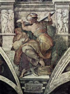 Michelangelo Libyan Sibyl Before The Sistine Chapel Restoration Miguel Angel Paintings