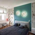 quarto de casal cabeceira azul