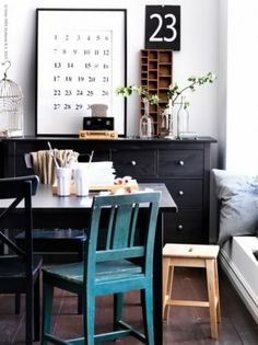 Hemnes dresser where you don't expect it and blue chair.