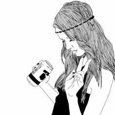 Image via We Heart It #art #draw #drawing #drink #drinks #girl #grunge #hairs #outline #outlines #peace