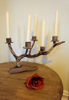 Found Wood Candle Stick Holder
