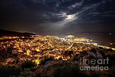 Kavala Under The Full Moon by Elias Pentikis People Around The World, Around The Worlds, Best Cities, Full Moon, Artist At Work, Athens, Fine Art America, Sky, August 2014