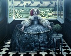 Garden of Timelessness, oil on canvas, 122x155cm, 1998 ~ Mike Worrall