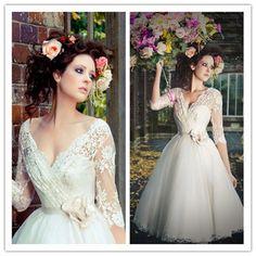 50s Vintage Wedding Dresses 2015 Tea Length A-line Lace Bridal Gowns Sexy V-neck 3/4 sleeve Flower waist Vestidos De Noiva Cheap