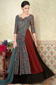 Blue Color Beautiful Printed Fancy Look Party wear Gown Style Floor length Salwar Suit