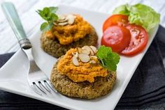 Gluten Free Lentil Cakes with Carrot Romesco Sauce (Click Link in Profile to Search Recipe) by simplyglutenfree