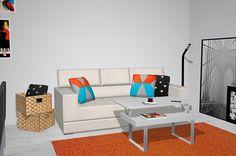 Salón comedor con pared de ladrillo y muebles color blanco