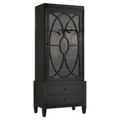 "China cabinet in black with five adjustable shelves. Includes a seeded glass door with circle overlay detail.    Product: CabinetConstruction Material: Hardwood solids, glass and red birch veneers Color: Black Features:  Circle overlay detailTwo drawersFive adjustable shelves Dimensions: 78"" H x 34"" W x 18.5"" D"