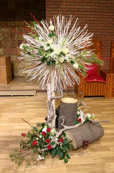 Large Floral Arrangements, Church Flower Arrangements, Church Flowers, Easter Flowers, Christmas Flowers, Christmas Wreaths, Altar Decorations, Wedding Decorations, Church Interior Design