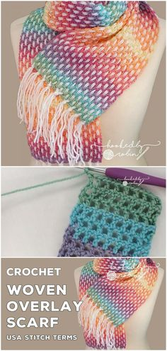Crochet Woven Overlay Scarf - knitting is as easy as 3 knitting is .Crochet Woven Overlay Scarf - knitting is as easy as 3 Knitting boils down to three essential skills. Crochet Scarves, Crochet Shawl, Crochet Hooks, Knit Crochet, Knitting Scarves, Crochet Granny, Crotchet, Knitting Stitches, Free Knitting
