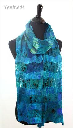 Winter Felted scarf unisex cobweb felt for him organic scarves.  Etsy.com