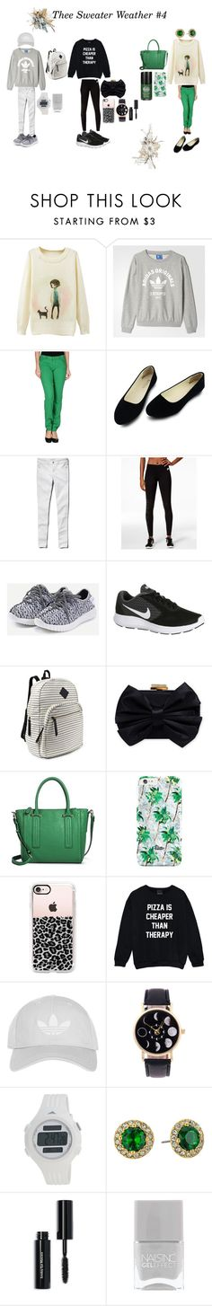 """Thee Sweater Weather #4"" by ruthannvogel ❤ liked on Polyvore featuring adidas, MICHAEL Michael Kors, Abercrombie & Fitch, NIKE, Steve Madden, Franchi, Merona, Casetify, Topshop and Lauren Ralph Lauren"
