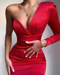 Glam Dresses, Satin Dresses, Elegant Dresses, Pretty Dresses, Beautiful Dresses, Short Dresses, Fashion Dresses, Red Satin Dress, Satin Bodycon Dress