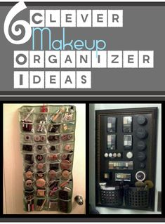 6 Clever Makeup Organizer Ideas, I love the one where they glued magnets on the back and used a metal board. Household Organization, Bathroom Organization, Makeup Organization, Storage Organization, Storage Ideas, Make Up Tricks, Organizing Your Home, Organising, Makeup Storage