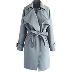 Chicwish Textured Belted Trench Coat in Grey ($68) ❤ liked on Polyvore featuring outerwear, coats, jackets, coats & jackets, casacos, grey, waterfall coat, draped trench coat, belted coat and trench coat