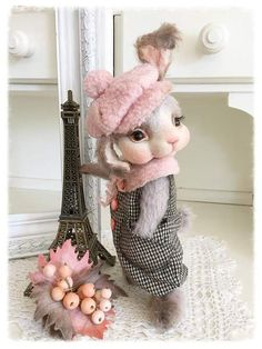 Autumn Paris Chanel By Sadovskaya Tatiana - rabbit sewn from mohair. filled - wool. and granules. front legs can bend. cap sewn from Italian wool. Pants are made of wool.bouquet of berries and leaves made of polymer clay and felt