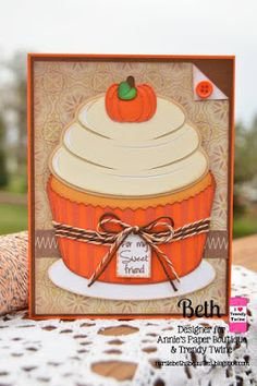 DT Beth @ Twine It Up! by Annie's Paper Boutique created a birthday cupcake card using Totally Chocolate and Spiced Pumpkin Trendy Twine.