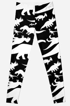 Black and White Dinosaur Pattern Leggings #rex #raptor #pteranodon #dinosaurs #jurassic