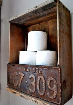 Rustic crate and license plate toilet paper holder by Funky Junk Interiors. Bet you could do something wonderful along these lines.License plate a little too rustic for me, but idea is good. Funky Junk Interiors, Crate Storage, Storage Ideas, Diy Storage, Storage Shelves, Wall Shelves, Rustic Shelves, Shelving, Storage Solutions