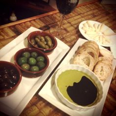 Wine, cheese, bread and olives. Heaven!!
