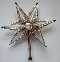Glass bead Christmas star tree topper from 1930.