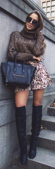 Black Thigh Boots Animal Print Skirt Brown Turtleneck Fall Inspo