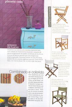 A cadeira Diretor Movie, da MMM, foi destaque da seção Planeta Casa, na edição de abril da Casa Claudia. http://www.meumoveldemadeira.com.br/produto/cadeira-diretor-movie-nogueira