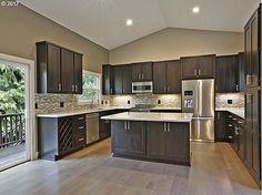 Kitchen Design Gallery, Modern Kitchen Design, Brown Kitchens, Home Kitchens, New Kitchen Cabinets, Kitchens With Dark Cabinets, Farmhouse Cabinets, Master Suite, Diy Kitchen Decor