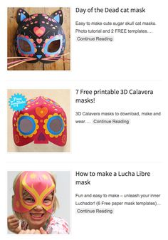 3D paper mask templates to download and make for FREE! Cat mask, calavera mask and a lucha libre mask.  #masks #mascaras  #templates https://happythought.co.uk/paper-mask-template